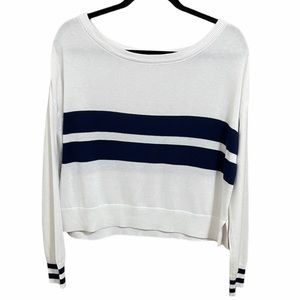 Drop Sleeve Navy Striped Cropped Sweater Sz Small